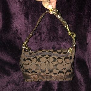 Coach Legacy Brown signature cosmetic bag